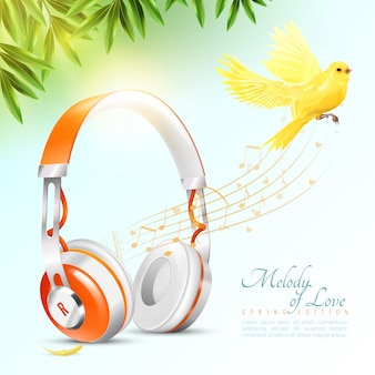 Cartaz realista de fones de ouvido