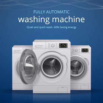 Cartaz realista de máquina de lavar roupa com ilustração de símbolos de lavagem silenciosa e rápida