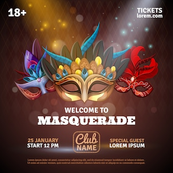 Cartaz realista de máscaras com bilhetes de festa e símbolos do clube