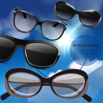 Cartaz realista de óculos de sol elegantes e modernos com óculos da moda no fundo do céu azul