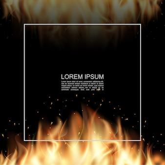 Cartaz realista de queima de fogo