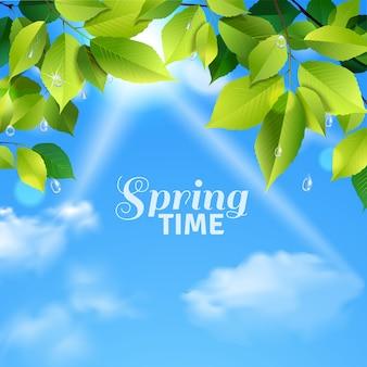 Cartaz realista de tempo de primavera