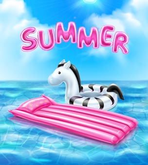 Cartaz realista de verão com ilustração de acessórios infláveis de natação