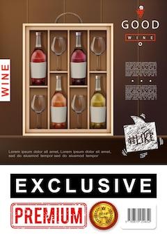 Cartaz realista de vinhos premium com conjunto exclusivo de vinhos brancos rosas tintos e taças de vinho na ilustração de madeira