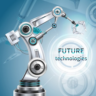 Cartaz realista do braço robótico com símbolos da tecnologia do futuro