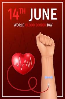 Cartaz realista do dia mundial do doador de sangue com mão e coração humanos em fundo vermelho