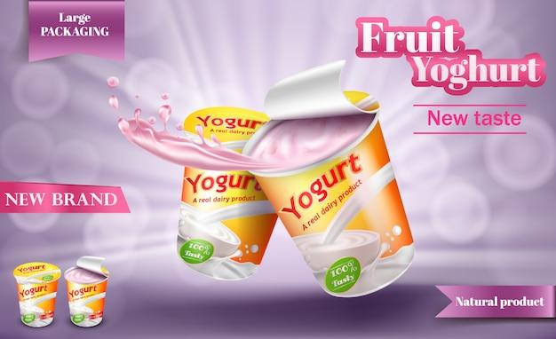 Cartaz realista para iogurte publicitário