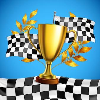 Cartaz realístico do troféu dourado do vencedor