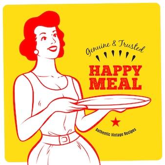 Cartaz retro da mulher da empregada de mesa