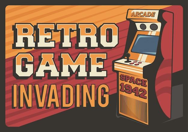 Cartaz retro da sinalização da máquina de videogame da arcada
