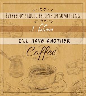Cartaz retro de conjunto de café