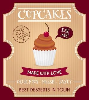 Cartaz retrô de cupcake