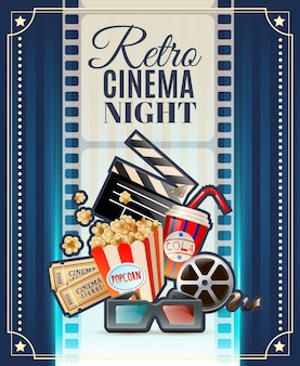 Cartaz retro do convite da noite do cinema