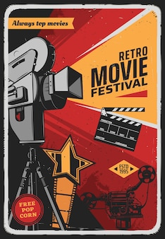 Cartaz retro do festival de cinema com câmera de vídeo