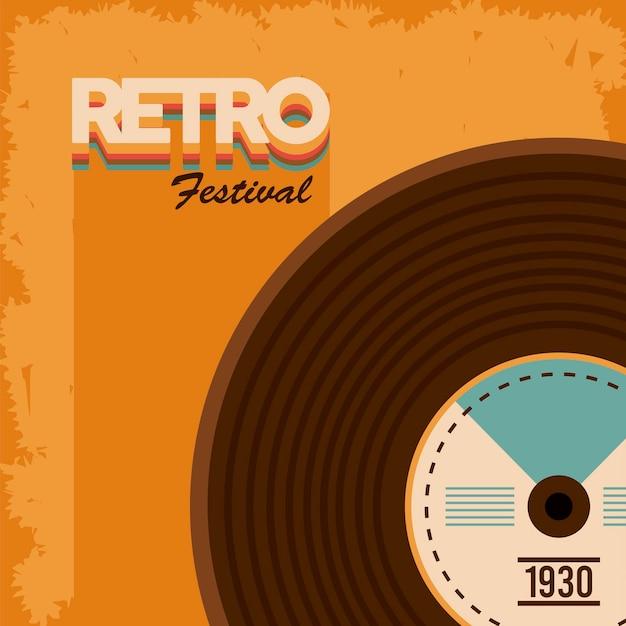 Cartaz retrô festival de letras com disco de vinil