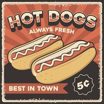 Cartaz retro vintage de cachorro-quente