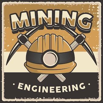 Cartaz retro vintage de engenharia de mineração