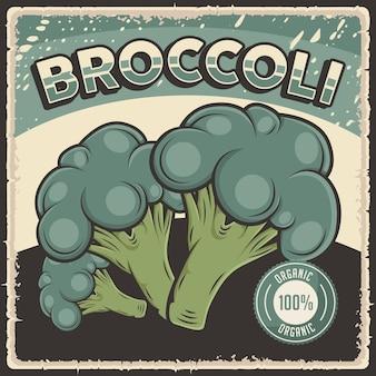 Cartaz retro vintage de vegetais orgânicos com brócolis