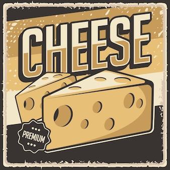 Cartaz retro vintage queijo