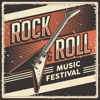 Cartaz retro vintage rock and roll music festival