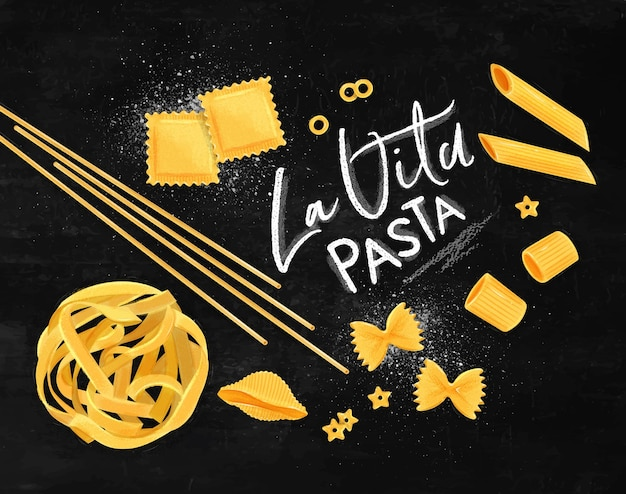 Cartaz rotulando a massa la vita com muitos tipos de macarrão, desenho em fundo de giz.