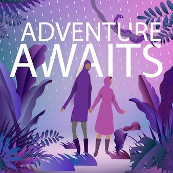 Cartaz roxo de wanderlust a aventura aguarda
