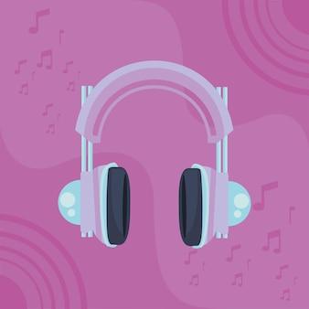 Cartaz roxo para fone de ouvido