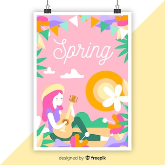 Cartaz sazonal colorido de mão desenhada