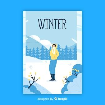 Cartaz sazonal de inverno desenhada de mão
