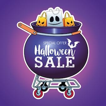 Cartaz sazonal de liquidação de halloween com sacolas de compras no carrinho do caldeirão