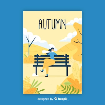 Cartaz sazonal de outono desenhada de mão