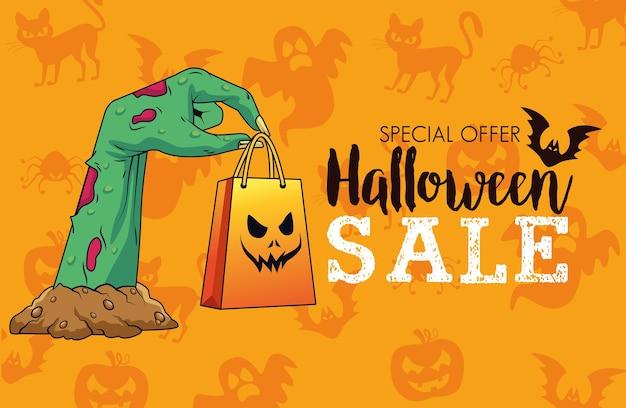 Cartaz sazonal de venda de halloween com a mão da morte levantando sacola de compras