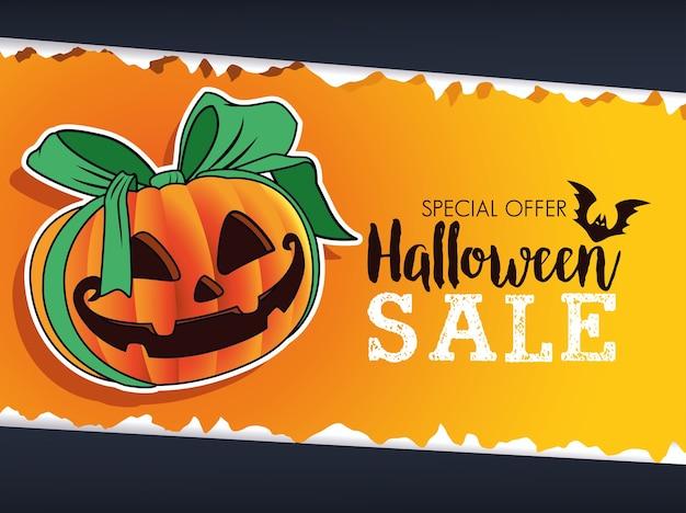 Cartaz sazonal de venda de halloween com abóbora e fita