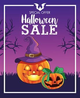Cartaz sazonal de venda de halloween com abóboras e cena de chapéu de bruxa