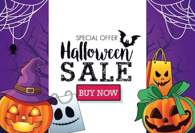 Cartaz sazonal de venda de halloween com abóboras usando chapéu de bruxa e moldura de sacolas de compras