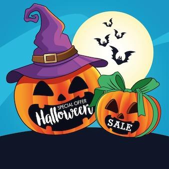 Cartaz sazonal de venda de halloween com abóboras usando chapéu de bruxa e morcegos voando