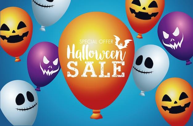 Cartaz sazonal de venda de halloween com balões de hélio flutuando