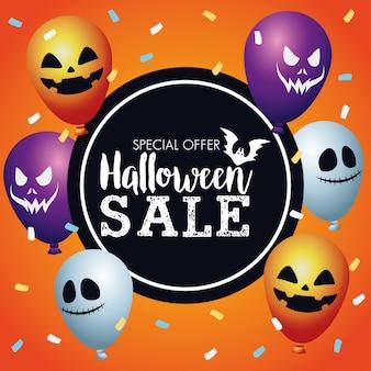 Cartaz sazonal de venda de halloween com balões de hélio