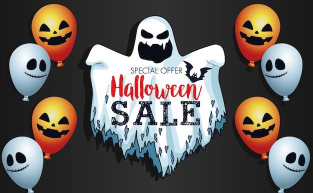 Cartaz sazonal de venda de halloween com fantasma e balões de hélio