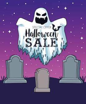 Cartaz sazonal de venda de halloween com fantasma no cemitério