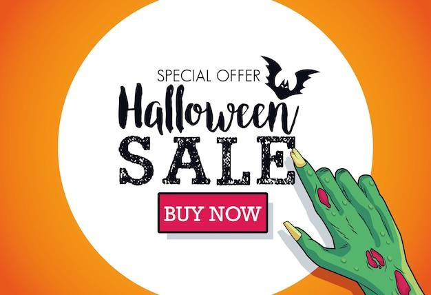 Cartaz sazonal de venda de halloween com letras de indexação da mão da morte
