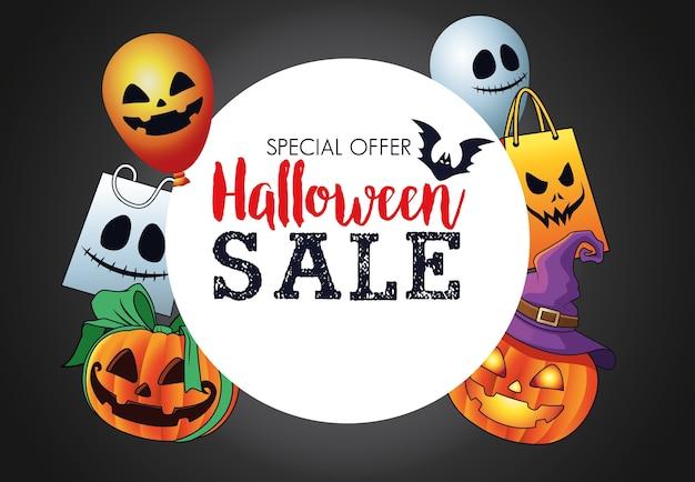 Cartaz sazonal de venda de halloween com moldura circular e itens definidos