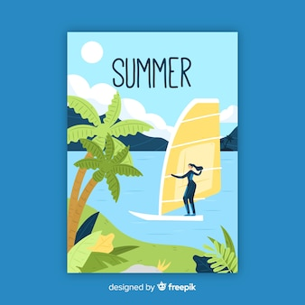 Cartaz sazonal de verão desenhada de mão