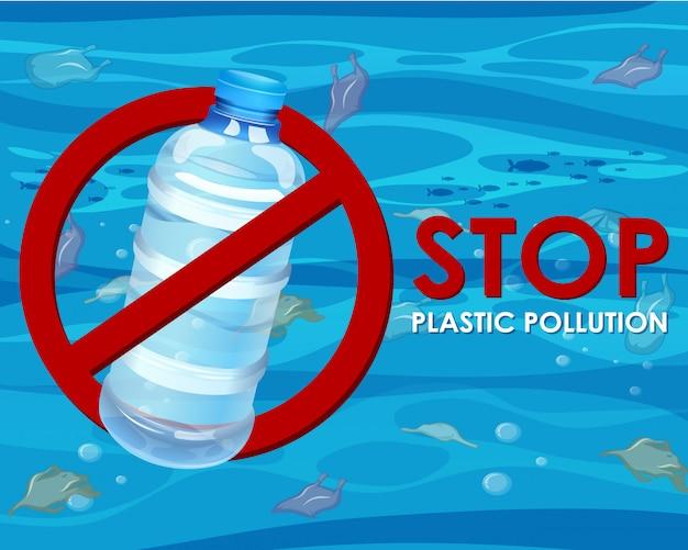 Cartaz sem garrafa de plástico