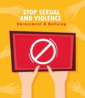 Cartaz sobre o fim de assédio sexual