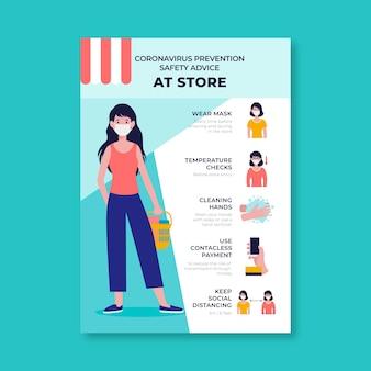 Cartaz sobre prevenção de coronavírus para lojas