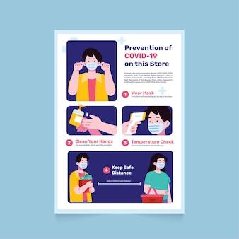 Cartaz sobre prevenção de coronavírus para lojas Vetor grátis
