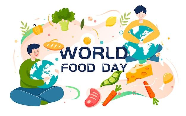 Cartaz sobre segurança alimentar verde para ilustração do dia mundial da alimentação
