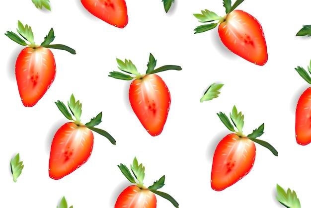 Cartaz suculento em fatias de morango vetor realista. banner de verão doce. ilustração 3d detalhada.