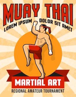 Cartaz tailandês da arte marcial de muay